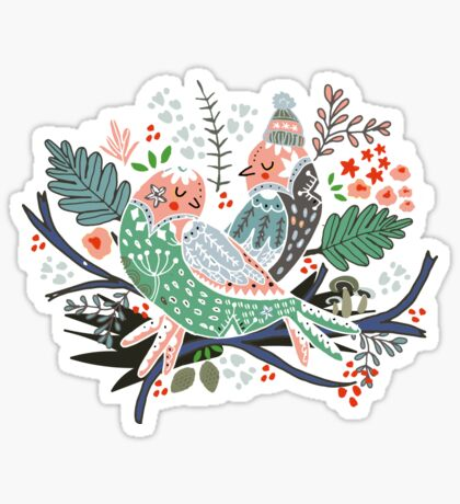 Holiday Birds Love Sticker