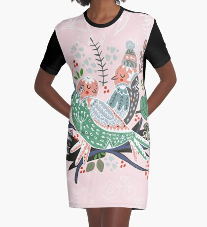 Holiday Birds Love Graphic T-Shirt Dress