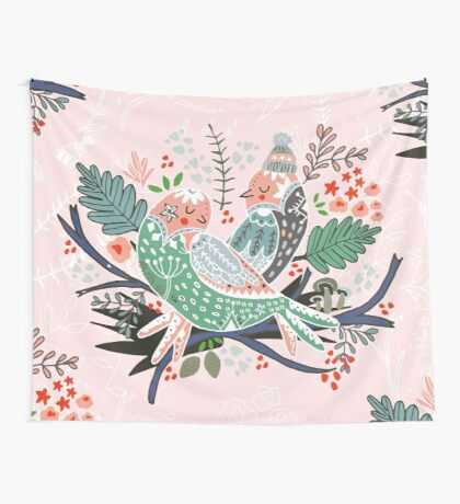 Holiday Birds Love Wall Tapestry
