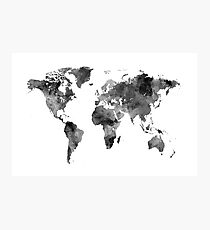 Map of the World Map Watercolor Photographic Print