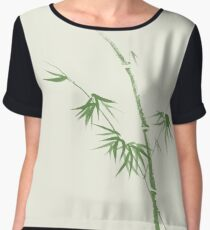 Bamboo stalk with leaves delicate Japanese Zen art design green on natural ivory background art print Chiffon Top