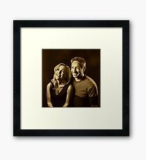 A successful old married couple - sepia panting Framed Print