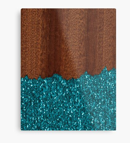 Aqua blue sparkles broken rustic brown wood Metal Print