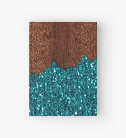 Aqua blue sparkles glitter rustic brown wood Hardcover Journal