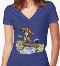 Samus and Metroid Women's Fitted V-Neck T-Shirt