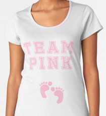 Team Girl Pink Mom Baby Shower Gender Reveal Party Cute Funny Gift Women's Premium T-Shirt