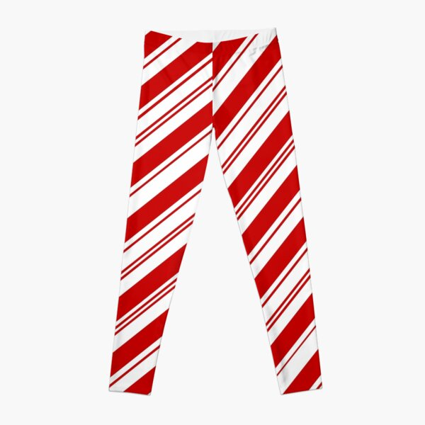 Merry Xmas peppermint stick red white Christmas Candy Cane  Leggings