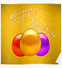 Colored Easter Eggs on Yellow Ornamental Geometric Background. Poster