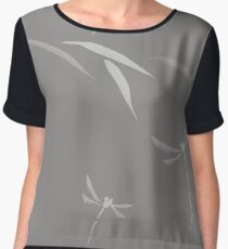 Beautiful simple Japanese Zen artwork design of Dragonflies and leaves on light gray background art print Chiffon Top