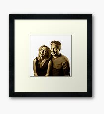 A successful old married couple - white/transparent background painting Framed Print