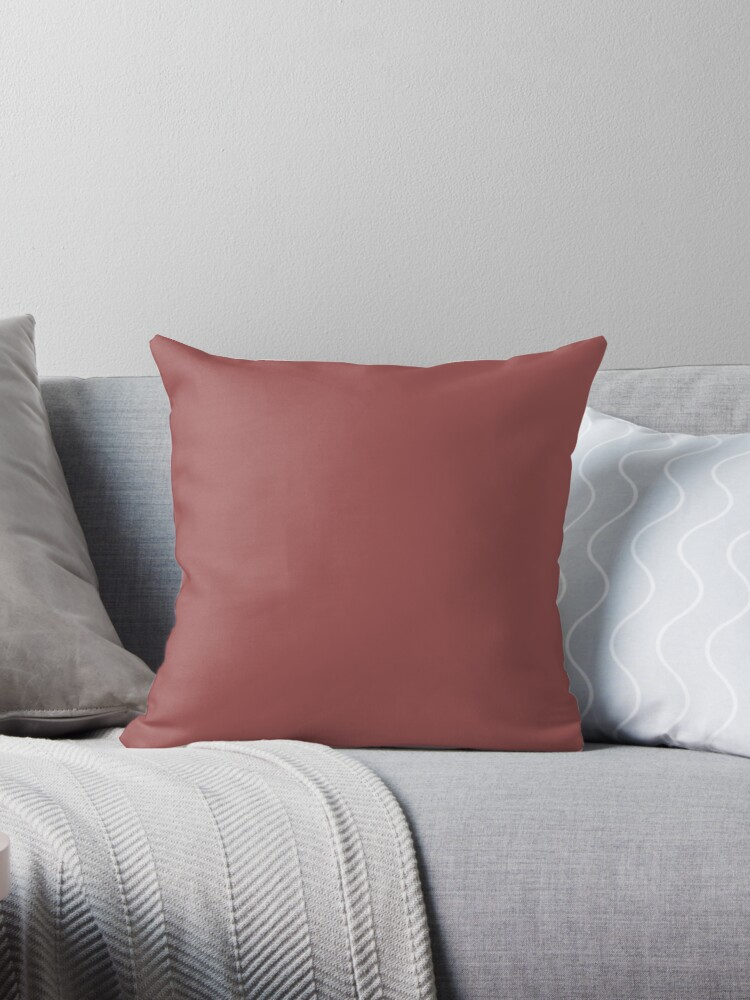 Earth Tone Throw Pillows.Neutral Tone Earthy Brown Solid Color Brick Red Throw Pillow By Lfang77