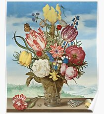 Bouquet of Flowers on a Ledge by Ambrosius Bosschaert Poster