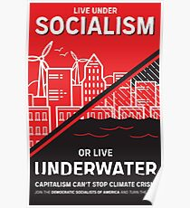 Lebe unter dem Sozialismus oder Lebe unter Wasser Poster
