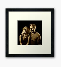 A successful old married couple - black background painting Framed Print