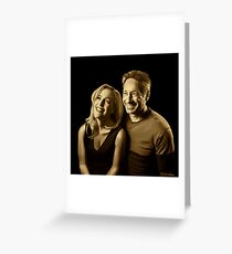 A successful old married couple - black background painting Greeting Card