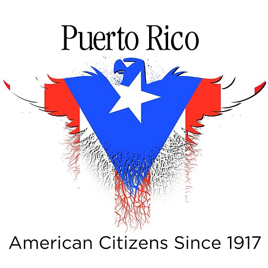 Puerto Rico Rican Flag Flat Graphic Design Inside Eagle American