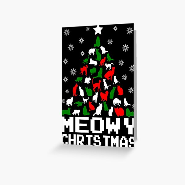 Meowy Christmas Cat Tree Greeting Card