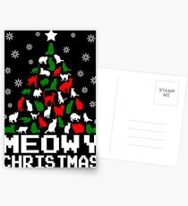 Meowy Christmas Cat Tree Postcards