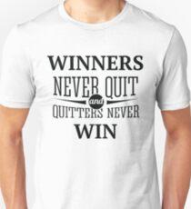 Redfool.com Winners Never Quit T-Shirt