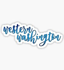 cursive western washington Sticker