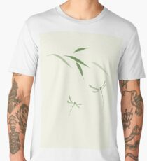 Dragonflies and bamboo leaves Japanese Zen Sumi-e painting green on natural ivory background art print Men's Premium T-Shirt