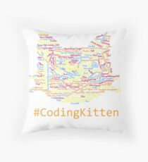 CodingKitten programmer cats shirt orange Throw Pillow