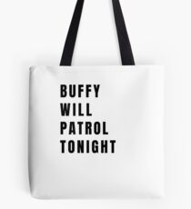 Buffy on Patrol - Plain Black Tote Bag