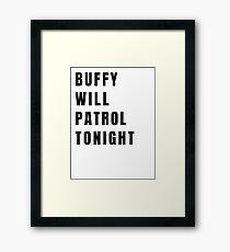 Buffy on Patrol - Plain Black Framed Print