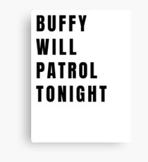 Buffy on Patrol - Plain Black Canvas Print