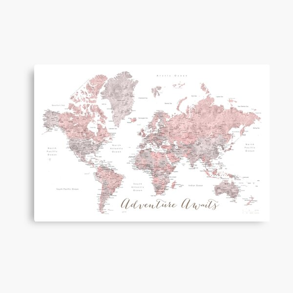 World map adventure awaits in dusty pink and grey Canvas Print