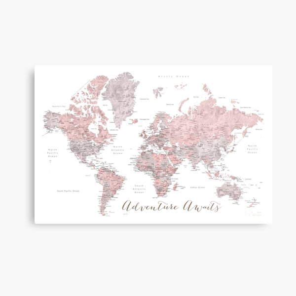World map adventure awaits in dusty pink and grey Metal Print