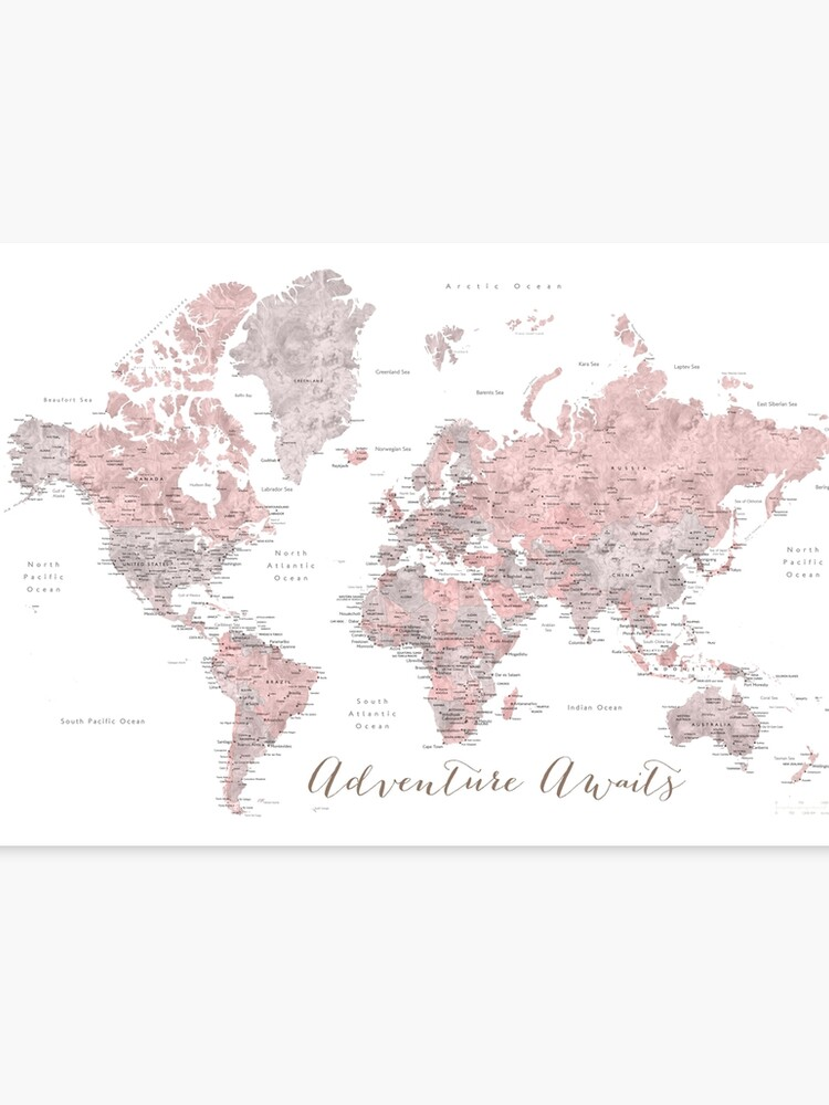 World map adventure awaits in dusty pink and grey | Canvas Print