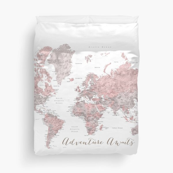 World map adventure awaits in dusty pink and grey Duvet Cover