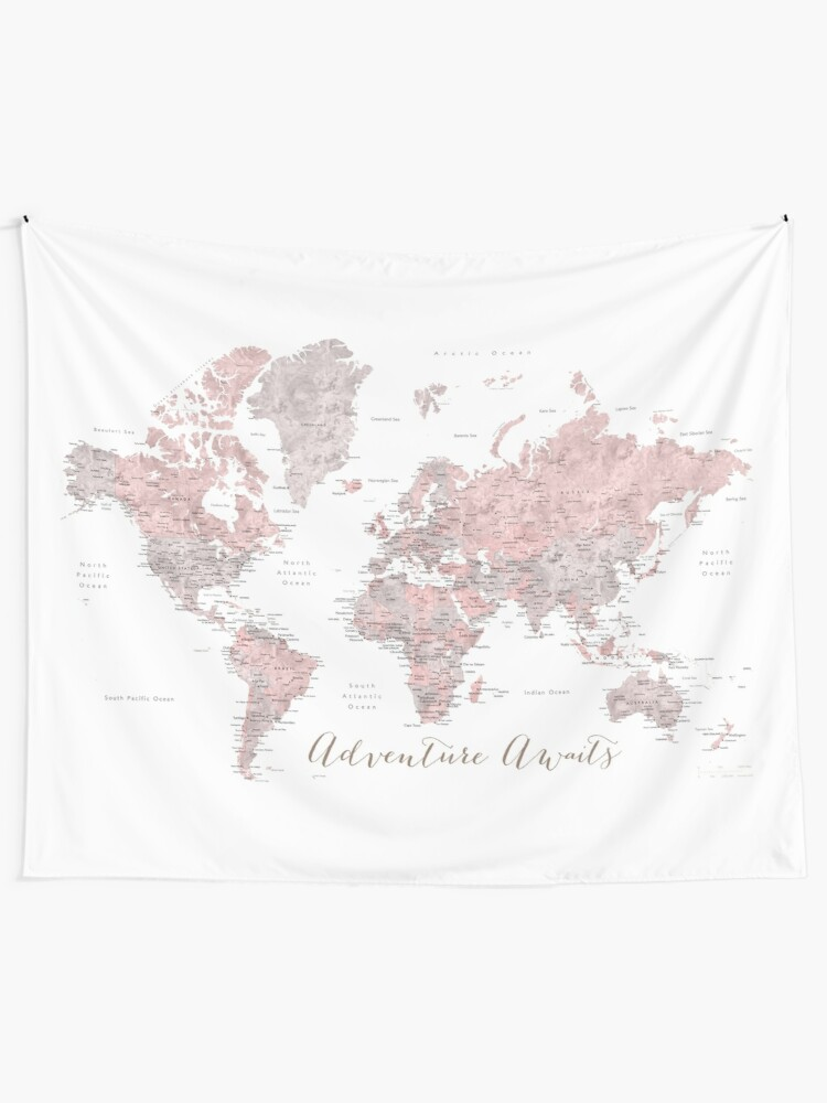 Alternate view of World map adventure awaits in dusty pink and grey Tapestry