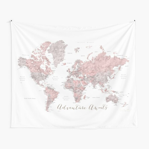 World map adventure awaits in dusty pink and grey Tapestry