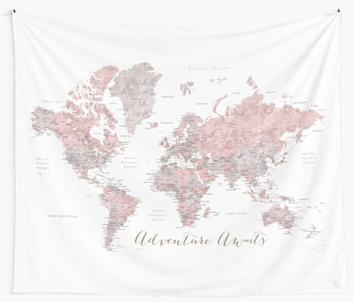 Quot World Map Adventure Awaits In Dusty Pink And Grey Quot Wall