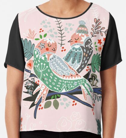 Holiday Birds Love Chiffon Top