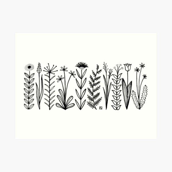 Blumenmuster scharz/weiß / flower pattern Art Print