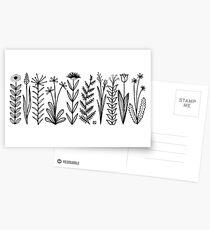 Blumenmuster scharz/weiß / flower pattern Postcards