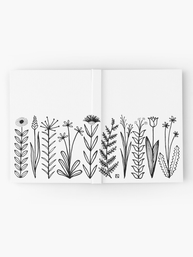 Alternative Ansicht von Blumenmuster scharz/weiß / flower pattern Notizbuch