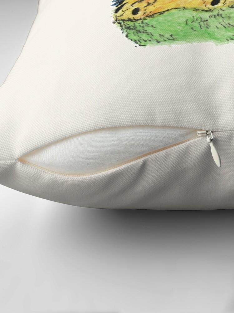 Alternate view of Prettyboy the Green Parakeet Throw Pillow