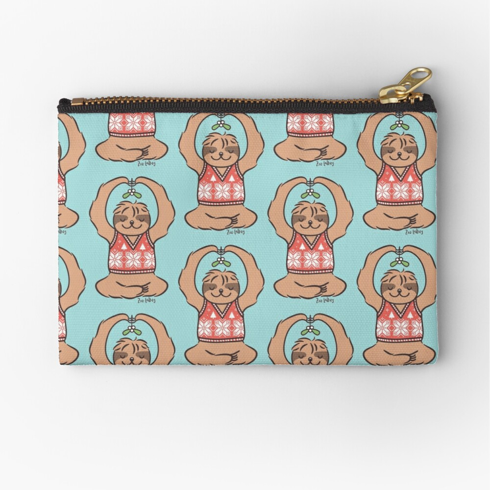 Christmas Kiss Sloth with Mistletoe Zipper Pouch