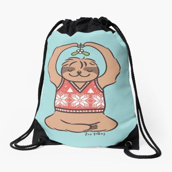 Christmas Kiss Sloth with Mistletoe Drawstring Bag