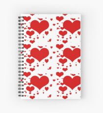 Red hearts for love pattern  Spiral Notebook
