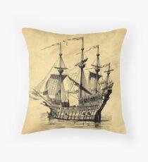 Tall Ship Vintage Illustration Throw Pillow