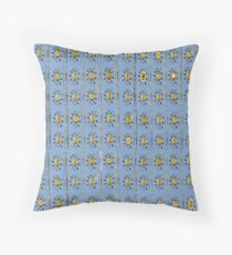Yellow Sunshade on distressed blue background Throw Pillow