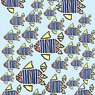 Fishes in water blue red yellow by HEVIFineart
