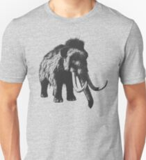 Woolly Mammoth Pen Drawing Design in Shades of Gray Unisex T-Shirt