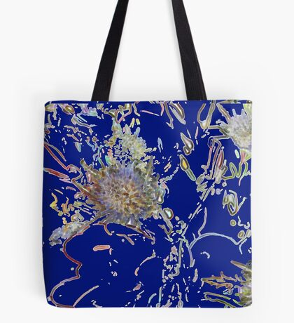 Retro floral pattern in blue    Tote Bag