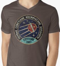 Camiseta de cuello en V Vintage Blue Badge Спутник V01